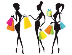 時尚購物女孩剪影矢量素材
