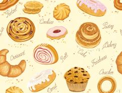 面包和蛋糕无缝背景矢量素材