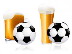 啤酒和足球矢量素材