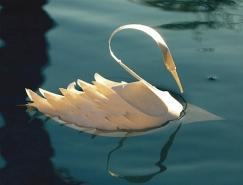 Bijian Fan飞扬的立体纸雕天鹅