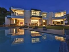 鸟瞰洛杉矶盆地的现代豪宅欣赏