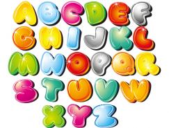 可愛卡通字母矢量素材