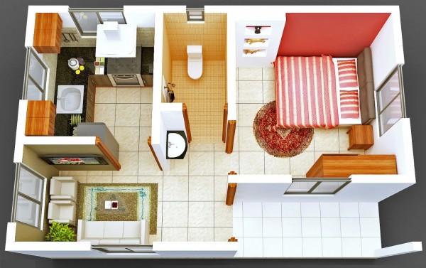 一居室户型装修3d布局效果图欣赏