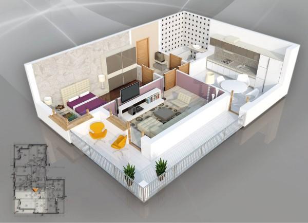 一居室户型装修3d布局效果图欣赏(5) - 设计之家