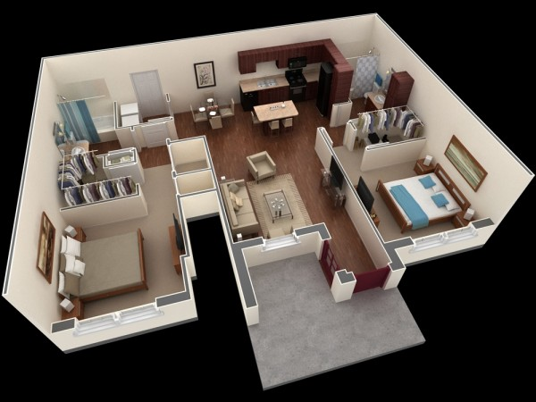 二居室户型装修3d布局效果图欣赏(2)