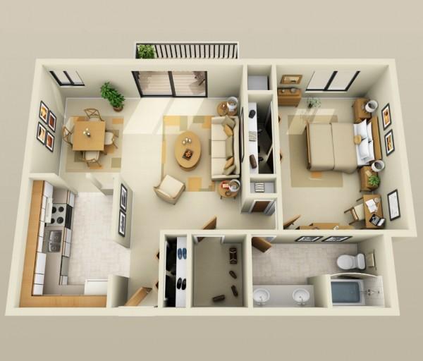 一居室户型装修3d布局效果图欣赏(3)