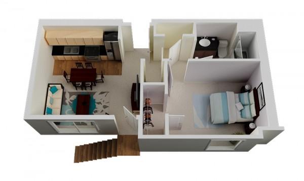 一居室户型装修3d布局效果图欣赏(5)