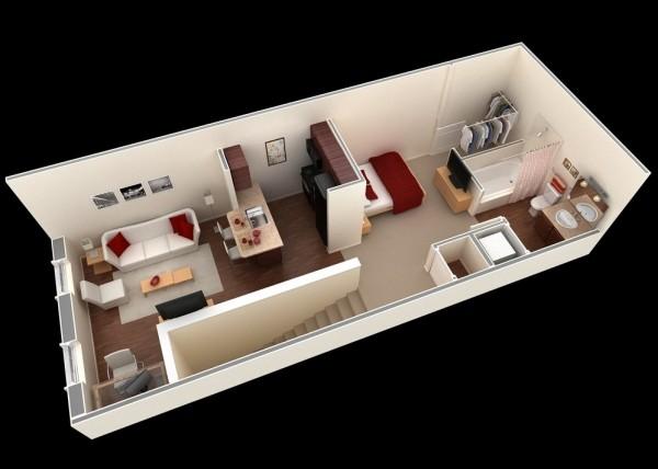 小公寓户型装修3d布局效果图欣赏
