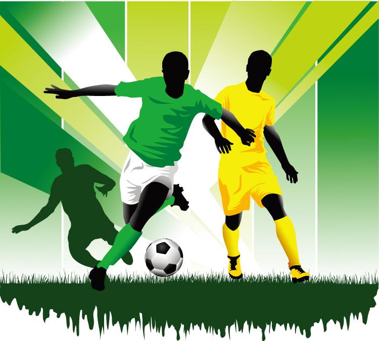 足球跑动运球动作矢量素材