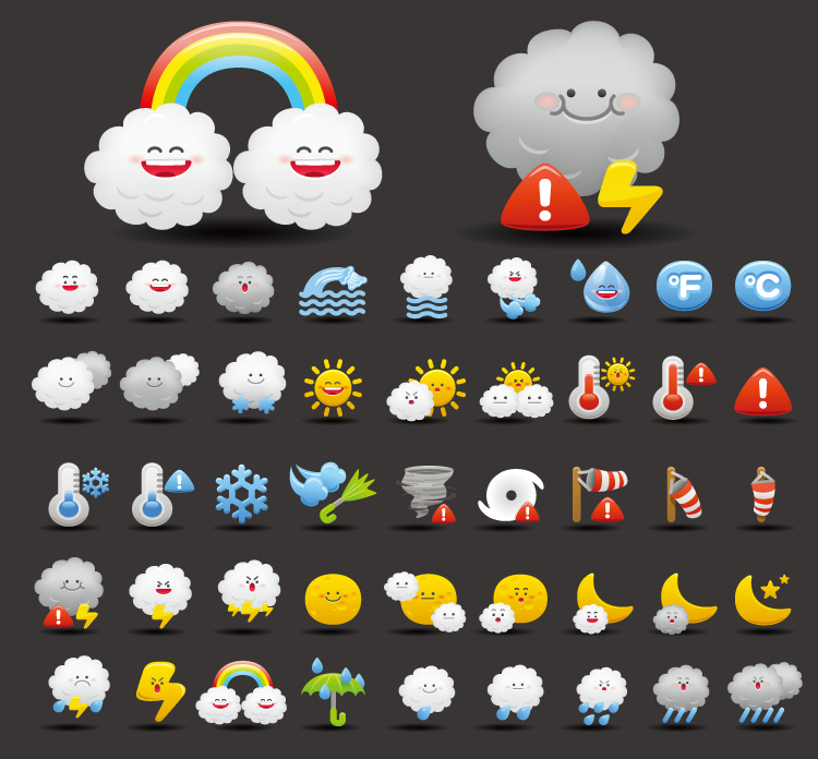 可爱卡通天气图标矢量素材