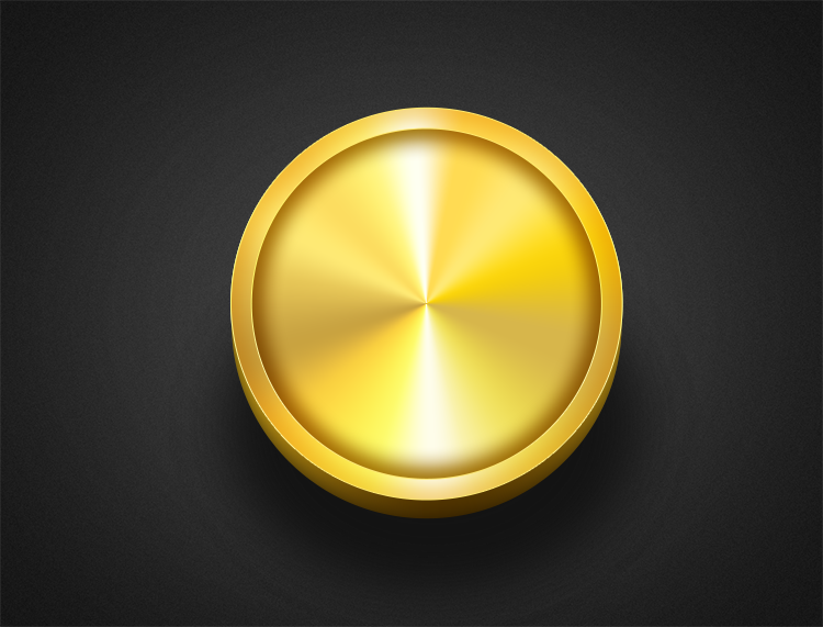 金色的圆形按钮psd素材