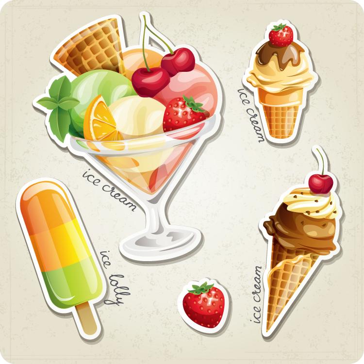 新鲜水果和冰淇淋矢量素材