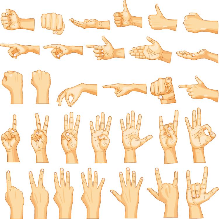 各种手势动作矢量素材
