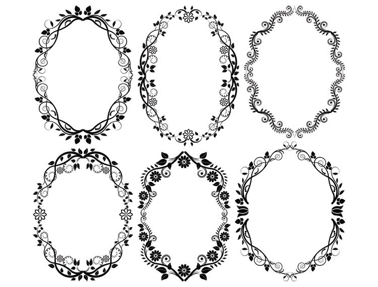 6款圆形装饰花卉花边矢量素材