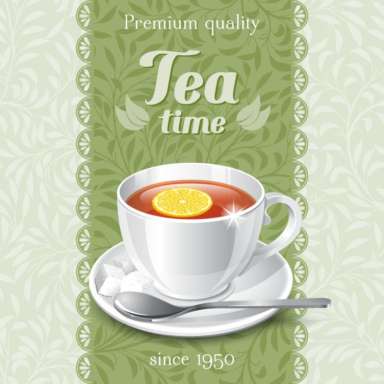 茶杯和绿色花纹背景矢量素材