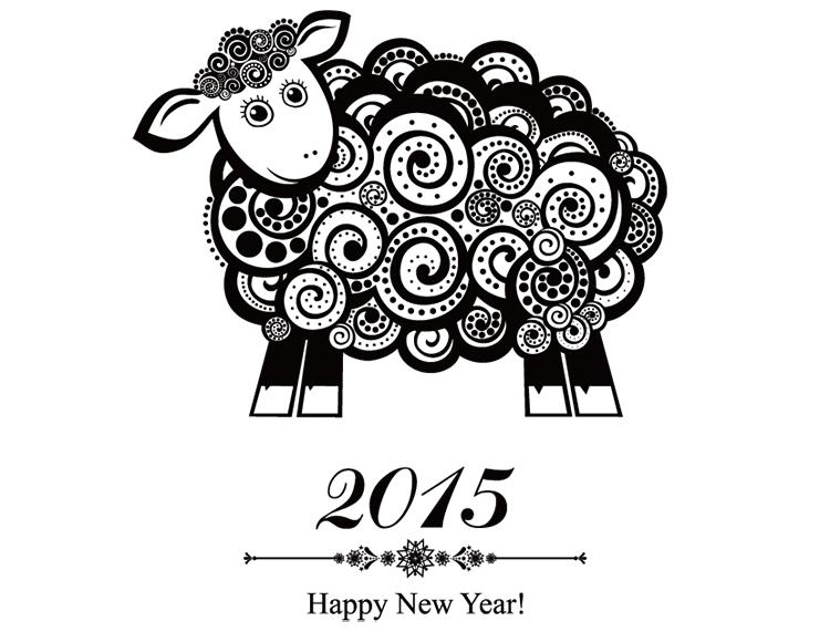 2015羊年海报矢量素材