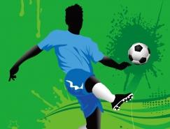 足球传球动作矢量素材