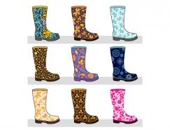 彩色图案时尚胶鞋矢量素材