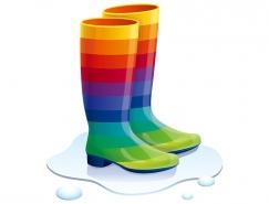 彩虹色防水靴矢量素材