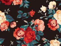 漂亮的複古風格玫瑰圖案背景矢量素材