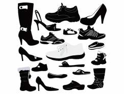 各种鞋子剪影矢量素材