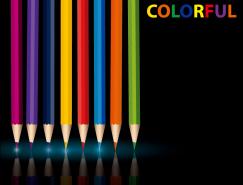 漂亮的彩色铅笔矢量素材