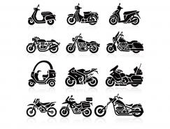 9款摩托車剪影矢量素材