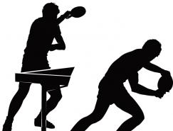 乒乓球运动动作剪影矢量素材