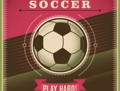 複古風格足球藝術海報矢量素材