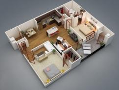 二居室户型装修3D布局效果图