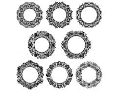8個圓形裝飾花邊矢量素材