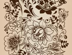 複古花卉裝飾圖案矢量素材