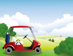 高尔夫球车矢量素材