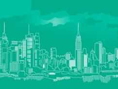 线描纽约摩天大楼天际线矢量素材