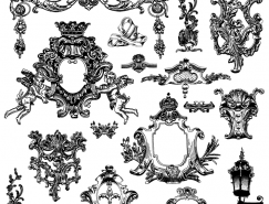 維多利亞風格的裝飾元素矢量素材(1)