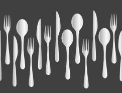 创意西餐餐具无缝背景矢量素材