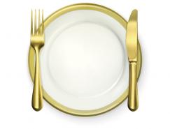 西餐餐具:金色刀叉矢量素材