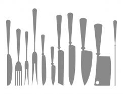 厨房餐具和刀具剪影矢量素材