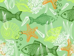 线描海洋动物背景矢量素材