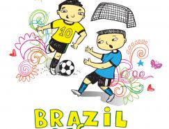 手繪巴西世界杯主題元素矢量素材