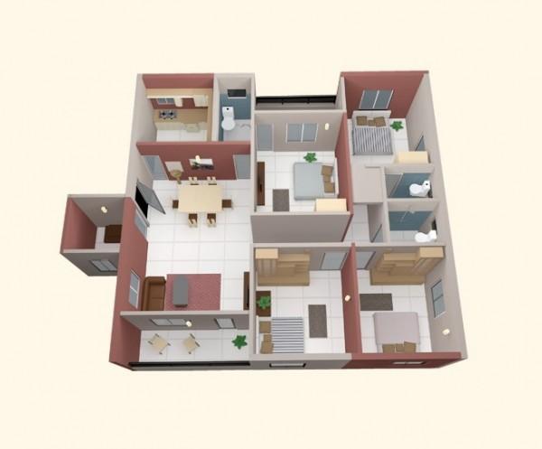 四居室户型装修3d布局效果图欣赏(4) - 设计之家