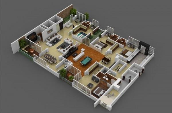 四居室户型装修3d布局效果图欣赏(5)