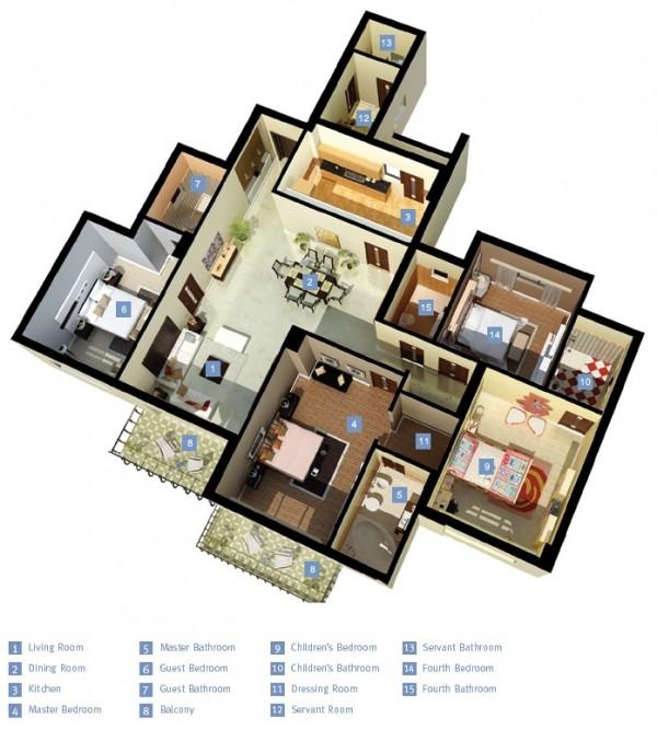 Ksl 4 Bedroom Apartment Bedroom Arrangement Ideas Bedroom Wall Decor With Lights Small Bedroom Chandeliers: ś�居室户型装修3D布局效果图欣赏(4)