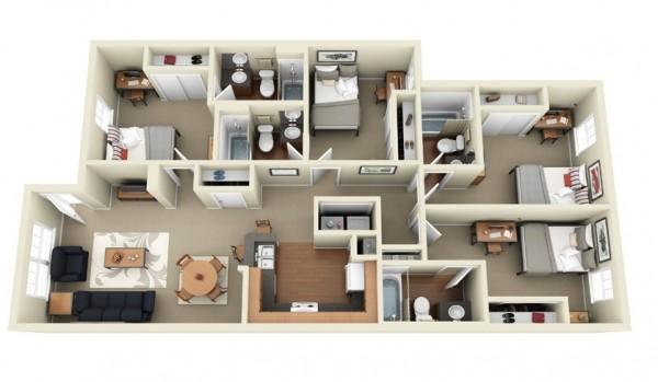 四居室户型装修3d布局效果图欣赏(4)
