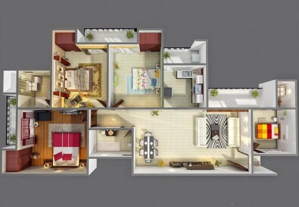 四居室户型装修3d布局效果图欣赏(2) - 设计之家