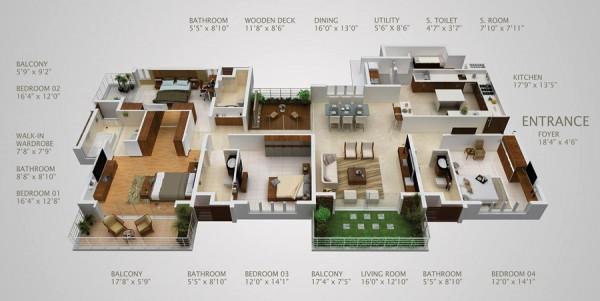 四居室户型装修3d布局效果图欣赏(2)
