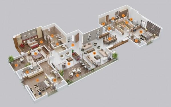 四居室户型装修3d布局效果图欣赏 - 设计之家