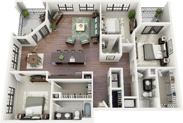 家居壁纸效果图_三居室户型装修3D布局效果图欣赏 - 设计之家
