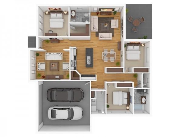 三居室户型装修3d布局效果图欣赏 4
