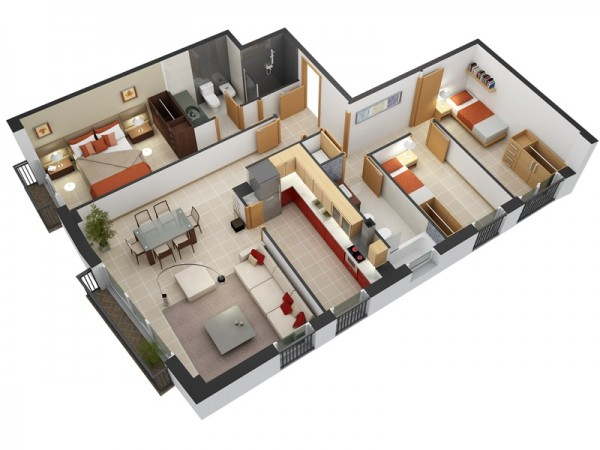 三居室户型装修3d布局效果图欣赏